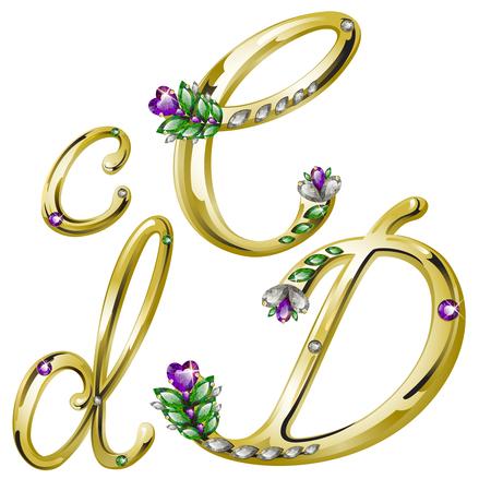volume glanzende gouden alfabet met bloemen details van diamanten en edelstenen, letters C, D