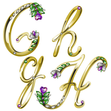 volume shiny gold alphabet with floral details from diamonds and gems, letters G, H