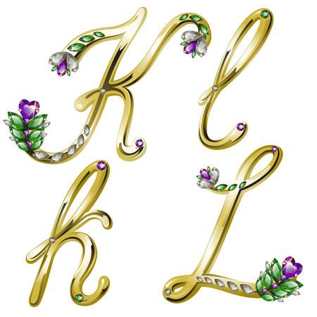 volume glanzende gouden alfabet met bloemen details van diamanten en edelstenen, letters K, L Stock Illustratie