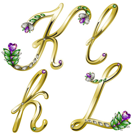 spangle: volume shiny gold alphabet with floral details from diamonds and gems, letters K, L