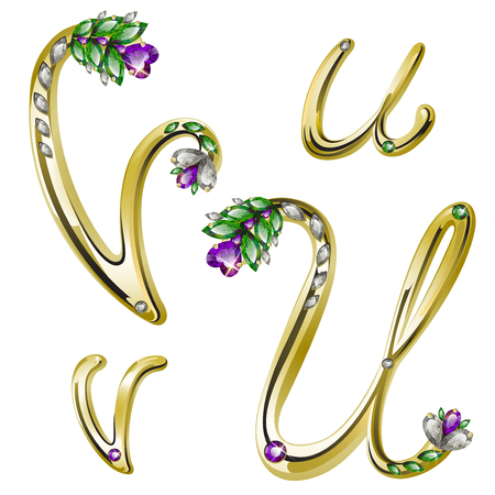 volume glanzende gouden alfabet met bloemen details van diamanten en edelstenen, letters U, V