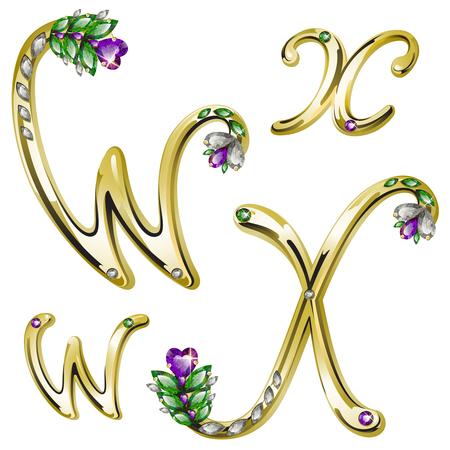 volume glanzende gouden alfabet met florale details van diamanten en edelstenen, letters W, X