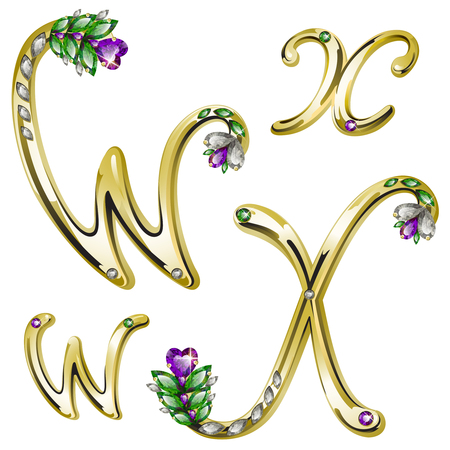 spangle: volume shiny gold alphabet with floral details from diamonds and gems, letters W, X