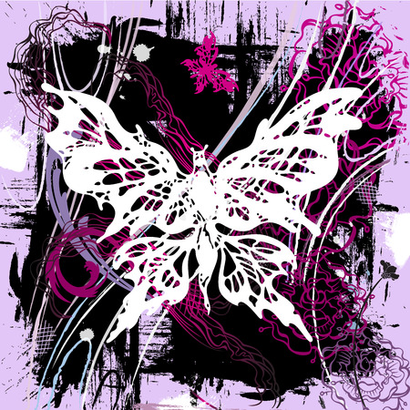 abstract butterfly: pictorial grunge background with white and pink butterflies and flowers