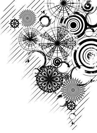 装飾的な透かし彫り円で黒と白のグランジ背景