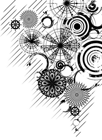 abstraction: black and white grunge background with decorative openwork circles