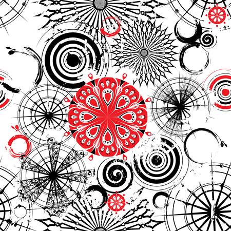 装飾的な透かし彫りの黒、白、赤の円でシームレスなグランジ背景