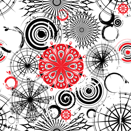 circumference: seamless grunge background with decorative openwork black, white and red circles Illustration