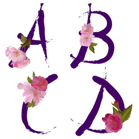 ベクター春の穏やかな桜の花文字 A、B、C、D とアルファベットのようなインクによって書かれました。  イラスト・ベクター素材