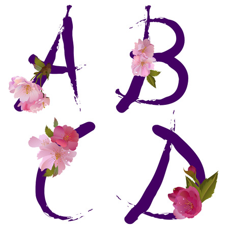 Vector spring alphabet with gentle sakura flowers letters A,B,C,D like written by ink