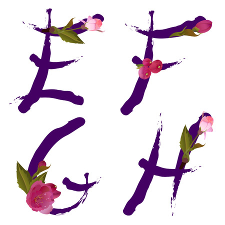 Vector spring alphabet with gentle sakura flowers letters E,F,G,H like written by ink