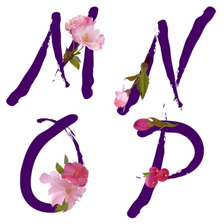 sakuras: Alfabeto de primavera de vector con suave sakura flores letras M, N, O, P como escrito por tinta