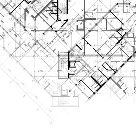 architectural black and white background with plans of building Illustration