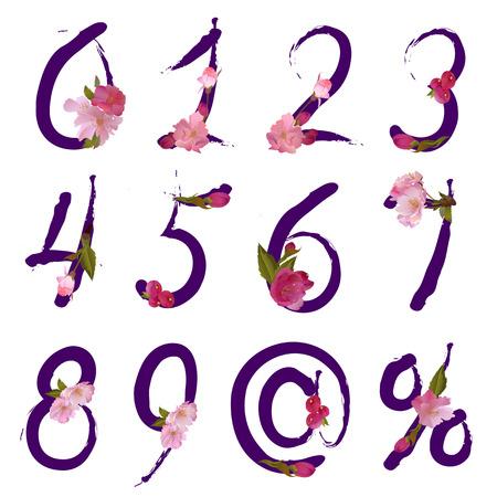 sakuras: figuras y signos, porcentajes de venta con flores de primavera suave sakura