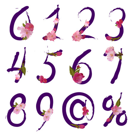 figures and signs,sale percents with gentle spring sakura flowers Illustration