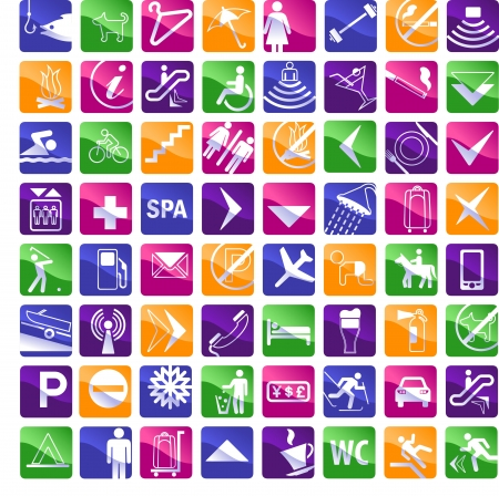 64 multicolored hotel icons - pink,blue,green,orange,violet and white joyful colors