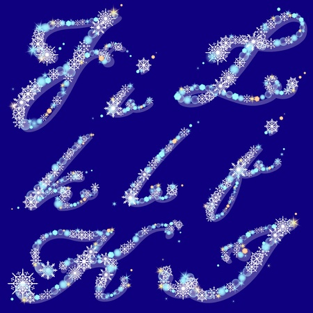 winter alphabet with shiny snowflakes and spangles, letters I,J,K,L Vector