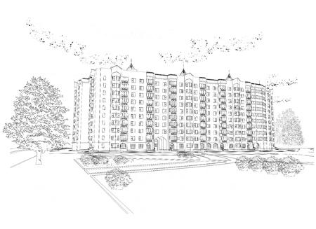 Arkitektonisk grafisk svart och vit bakgrund med byggnad