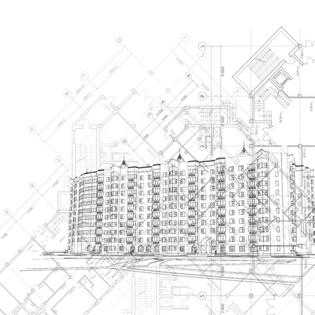 architectural: Vector architectural graphic black and white background with building and layouts