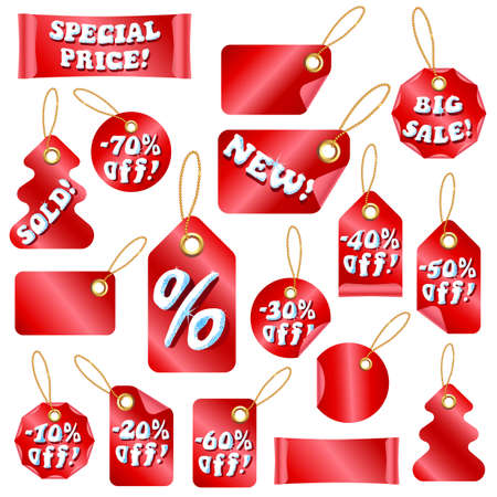 Vector Winter Christmas Sale Tags With Snow Letters and Sale percents Stock Vector - 11287172