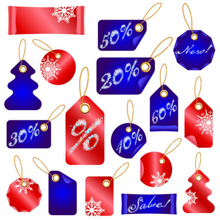 Vector Winter Christmas Sale Tags With Snowflakes  and Percents Vector