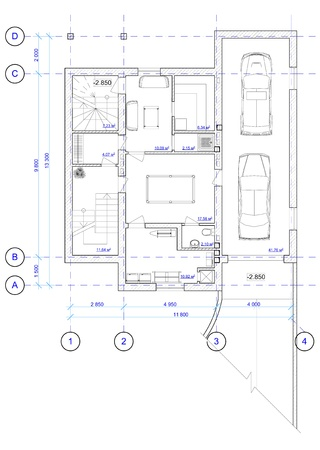 Architectural Black and White Plan of 0 floor of house with a placement of furniture  photo