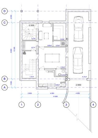 Architecture plan en noir et blanc de 0 étage de la maison d'un placement de meubles