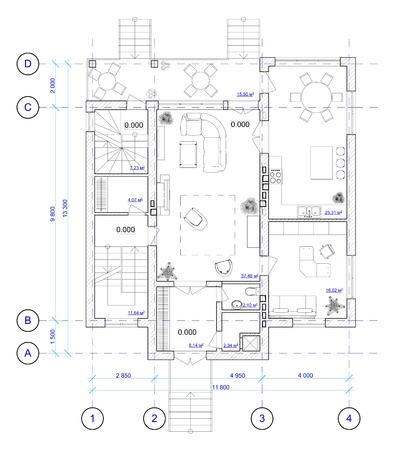 plans: Architectural Black and White Plan of 1 floor of house with a placement of furniture