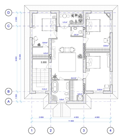 Architectural Black and White Plan of 2 floor of house with a placement of furniture photo