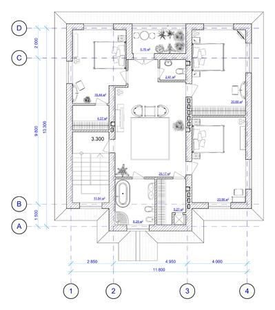 Bouwkundig Zwart-wit Plan van 2 verdieping van de woning met een plaatsing van meubilair Stockfoto
