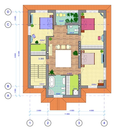 outside the house: Architectural Multicolored Plan of 2 floor of house with a placement of furniture  Stock Photo