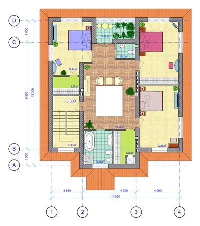 Bouwkundig Veelkleurige Plan van 2 verdieping van de woning met een plaatsing van meubilair