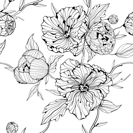 Black and white seamless background with gentle peony flowers Illustration