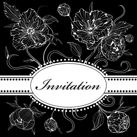 peony black: Vector black and white background (invitation) with gentle peony flowers Illustration