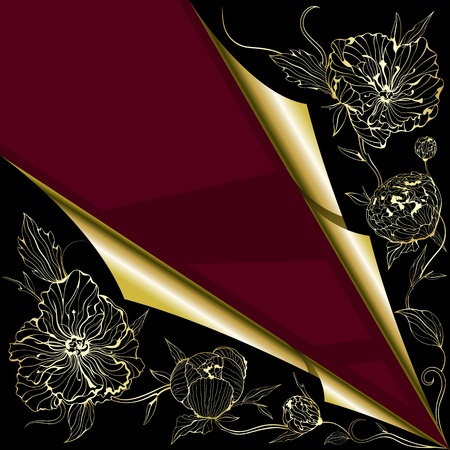 peony black: greeting background with gentle peony flowers with place for text