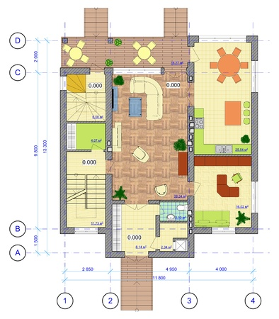 Architectural Multicolored Plan of 1 floor of house with a placement of furniture