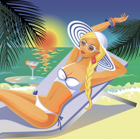 Beautiful tanned girl in white bikini having a rest on a beach with a coctail Vector