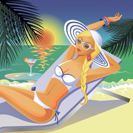 Härligt solbränd flicka i vit bikini som har en vila på en strand med en coctail