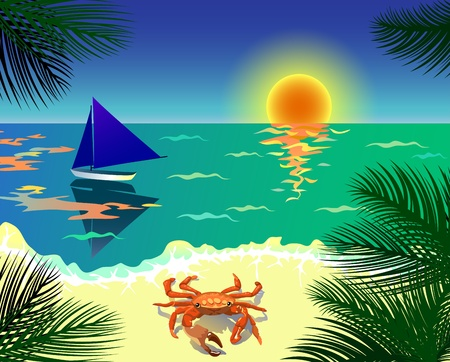 sundown: Beautiful tropical view with beach, boat, crab and palm leaves
