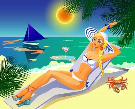 sun tan: Hermosa chica morena en bikini blanco que tiene un descanso en una playa con un c�ctel Vectores