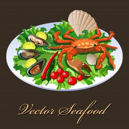Krabba i skålen med sallad, tomater och blötdjur med citronskivor Illustration