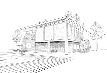 Vector black and white sketch of modern suburban wooden house with swimming pool and chaise lounges Illustration