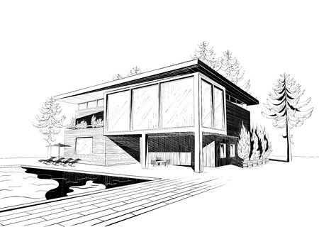 Vector black and white sketch of modern suburban wooden house with swimmingpool and chaise lounges