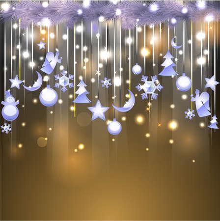 Shiny bakgrund med jul glasaktig dekoration Illustration