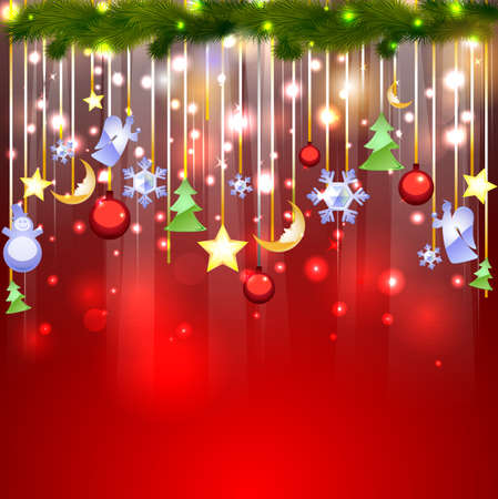 Shiny red background with Christmas glassy decoration Vector