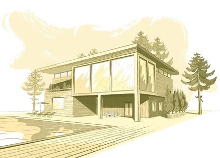 Vector sepia schets van modern, voorstedelijk houten huis met zwembad en ligstoelen