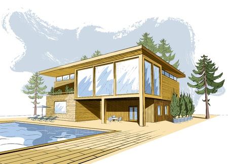 modern huis: gekleurde schets van de moderne voorsteden houten huis met zwembad en ligstoelen