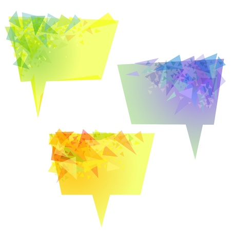 Vector abstract yellow banners with green,blue,turquoise, orange triangles Vector