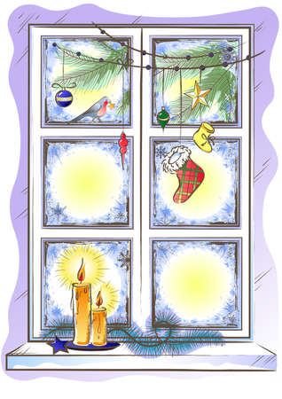 Holiday Frozen Window with Christmas Garland Decoration and Candles Vector