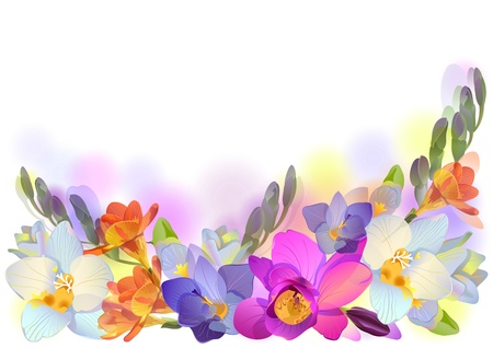 watercolor blue: Vector greeting background with pictorial freesia flowers in horizontal format